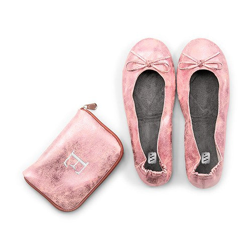 Pink Foldable Flats Pocket Shoes with Personalized Bag