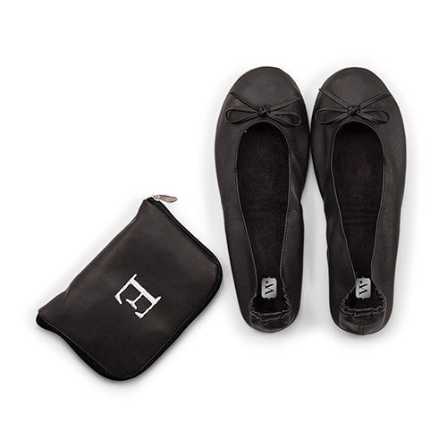 Black Foldable Flats Pocket Shoes with Personalized Bag