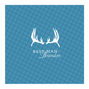 Aqua Blue Antlers Plaid Personalized Handkerchief