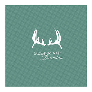 Hunter Green Antlers Plaid Personalized Handkerchief