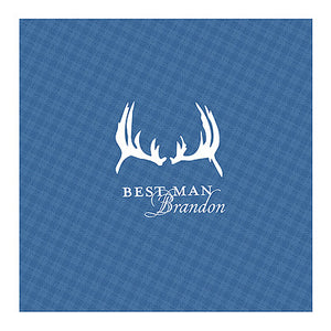 Indigo Blue Antlers Plaid Personalized Handkerchief