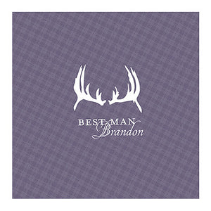 Victorian Purple Antlers Plaid Personalized Handkerchief