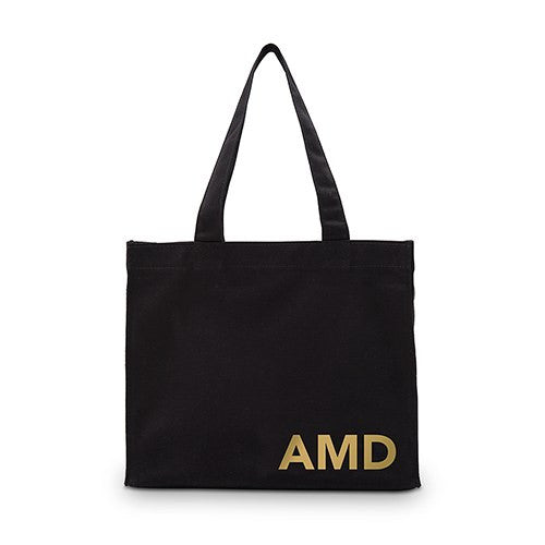 Modern Monogram Black Canvas Tote Bag Mini Tote with Gussets