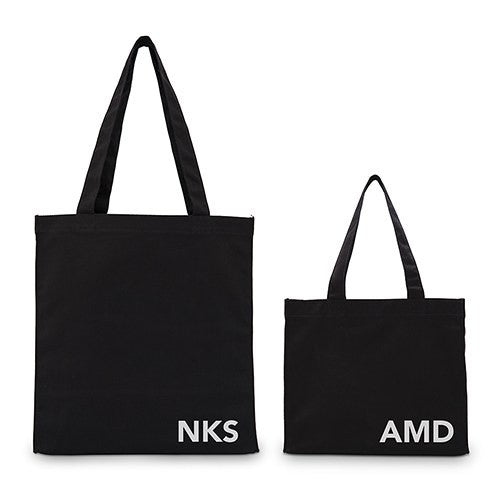 Modern Monogram Black Canvas Tote Bag Tote Bag with Gussets