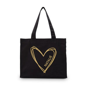 Personalized Heart Black Canvas Tote Bag Tote Bag with Gussets - Small