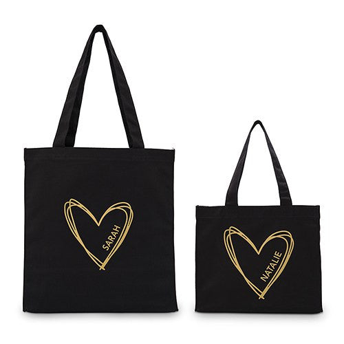 Personalized Heart Black Canvas Tote Bag Tote Bag with Gussets