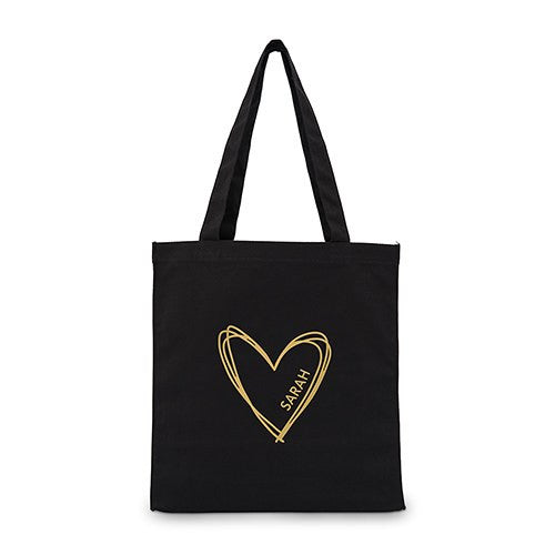 Personalized Heart Black Canvas Tote Bag Tote Bag with Gussets -Large