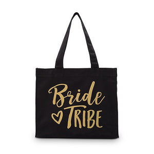 Bride Tribe Black Canvas Tote Bag Tote Bag with Gussets - Small