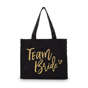 Team Bride Black Canvas Tote Bag Tote Bag with Gussets - Small
