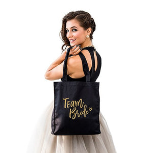 Team Bride Black Canvas Tote Bag Tote Bag with Gussets