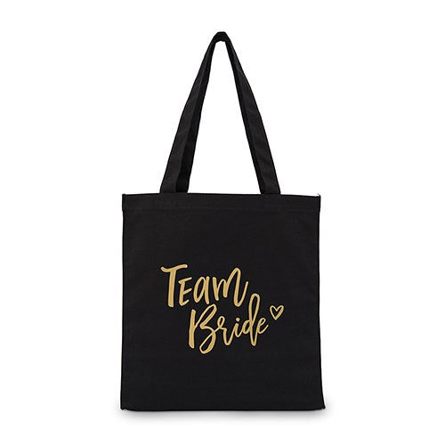 Team Bride Black Canvas Tote Bag Tote Bag with Gussets - Large
