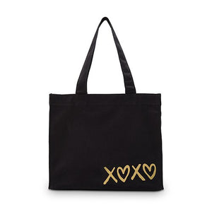 XOXO Black Canvas Tote Bag Tote Bag with Gussets - Small