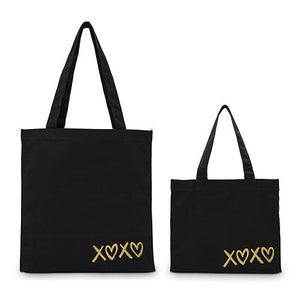 XOXO Black Canvas Tote Bag Tote Bag with Gussets