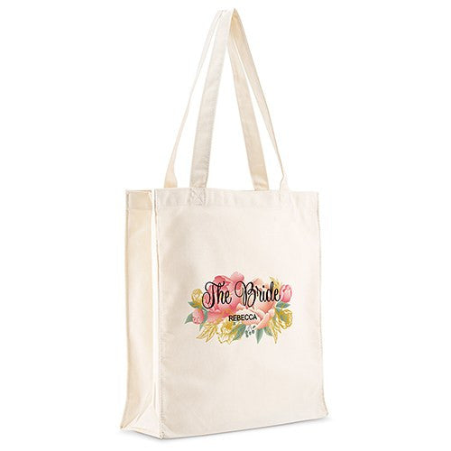 Personalized White Canvas Tote Bag - Modern Floral Tote Bag with Gussets Large