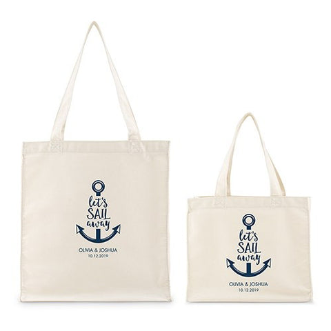 Personalized White Canvas Tote Bag - Let's Sail Away Mini Tote with Gussets Navy Large-Small