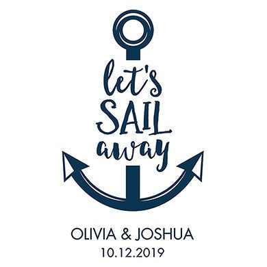 Personalized White Canvas Tote Bag - Let's Sail Away Tote Bag with Gussets Navy Blue