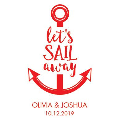 Personalized White Canvas Tote Bag - Let's Sail Away Tote Bag with Gussets Red