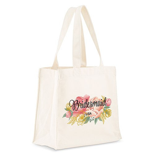 Personalized White Canvas Tote Bag - Modern Floral Tote Bag with Gussets Small