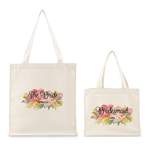 Personalized White Canvas Tote Bag - Modern Floral Tote Bag with Gussets