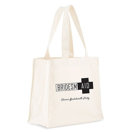 Personalized White Canvas Tote Bag - Bridesmaid Survival Kit Tote Bag with Gussets Black