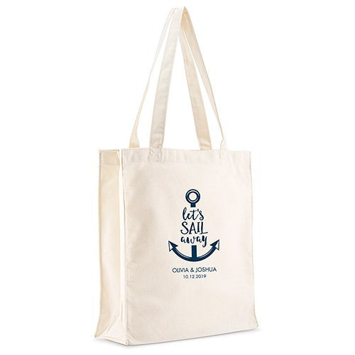 Personalized White Canvas Tote Bag - Let's Sail Away Mini Tote with Gussets Navy Blue