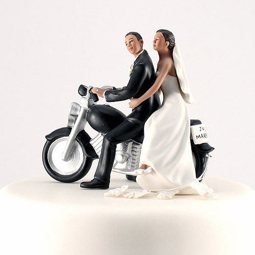 Bride and Groom Motorcycle Wedding Cake Topper