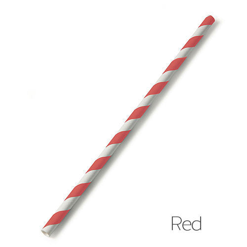 Red Candy Striped Paper Straw