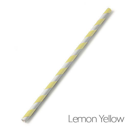Lemon Yellow Candy Striped Paper Straw