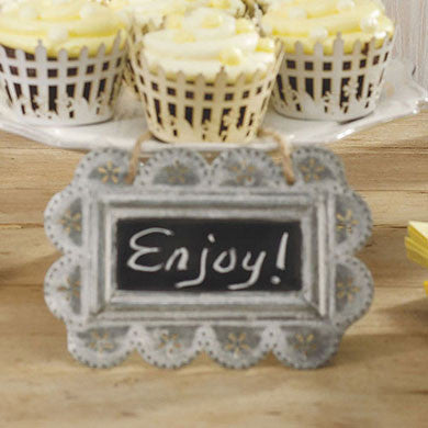 Chalkboard Sign with Scalloped Tin Frame