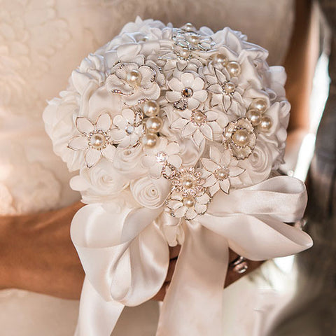 SALE ITEM - Handmade Couture Brooch Bridal Bouquet
