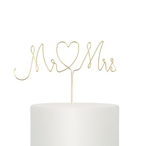 Mr. & Mrs. Twisted Wire Cake Topper - Gold