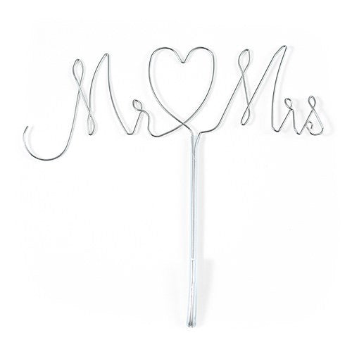 Mr. & Mrs. Twisted Wire Cake Topper - Silver