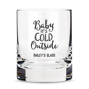 Personalized Whiskey Glasses with Baby It's Cold Outside Printing Black
