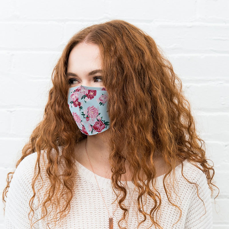 Reusable Cloth Face Mask - Blue Modern Floral
