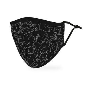 Reusable Cloth Face Mask with Artsy Many Faces Pattern