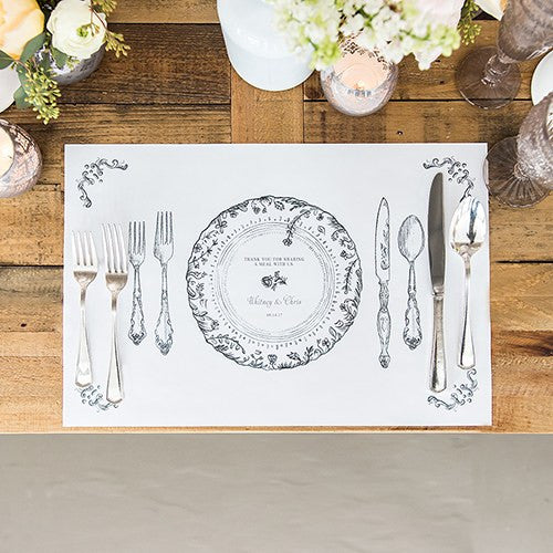 Personalized Antique Chic Paper Place Mat Table Setting