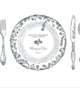 Personalized Antique Chic Paper Placemat Table Setting (Pack of 12)
