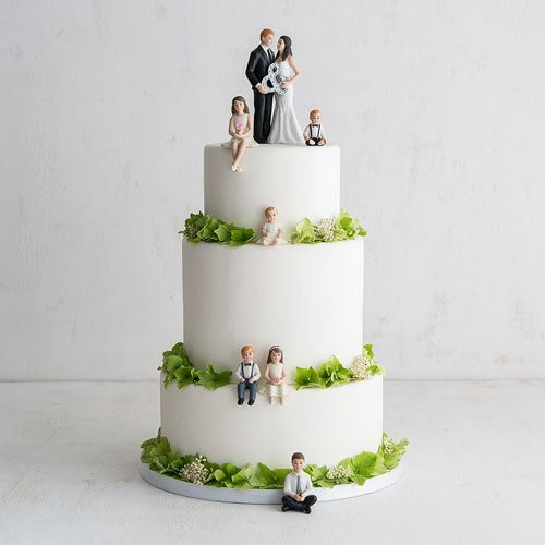 Porcelain Family Wedding Cake Topper Set