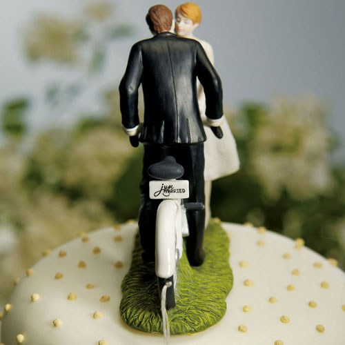 Bicycle Bride and Groom Wedding Cake Topper