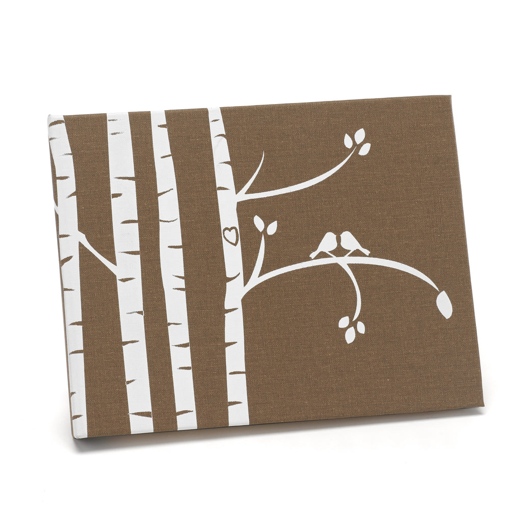 Birch Tree and Love Bird Guest Book