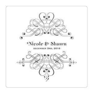 Black Fanciful Monogram Personalized Clear Acrylic Block Cake Topper