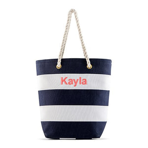 Personalized Navy White Striped Bride Bridesmaid Canvas Tote