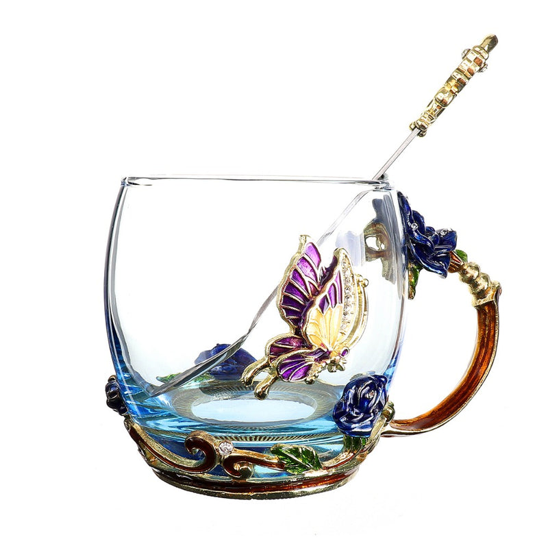 Blue Rose and Butterfly Enamel Crystal Cup Gift Idea