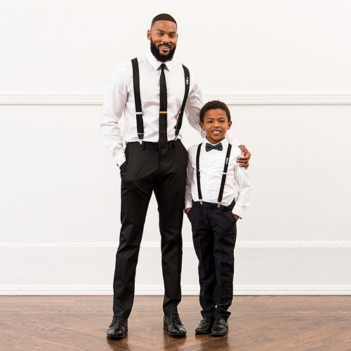 Boy's Monogrammed Tuxedo Suspender and Bowtie Gift Set