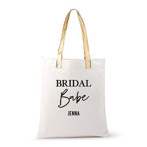Personalized Cotton Canvas Fabric Tote Bag With Gold Strap - Bridal Babe