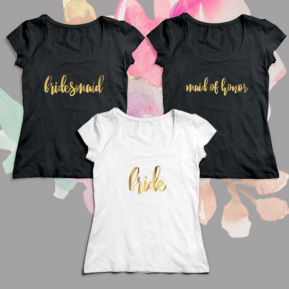 03f0ab61d3b Bridal Party T-shirt Gold Lettering Scoop Neck – Candy Cake Weddings Favors  and Custom Gifts