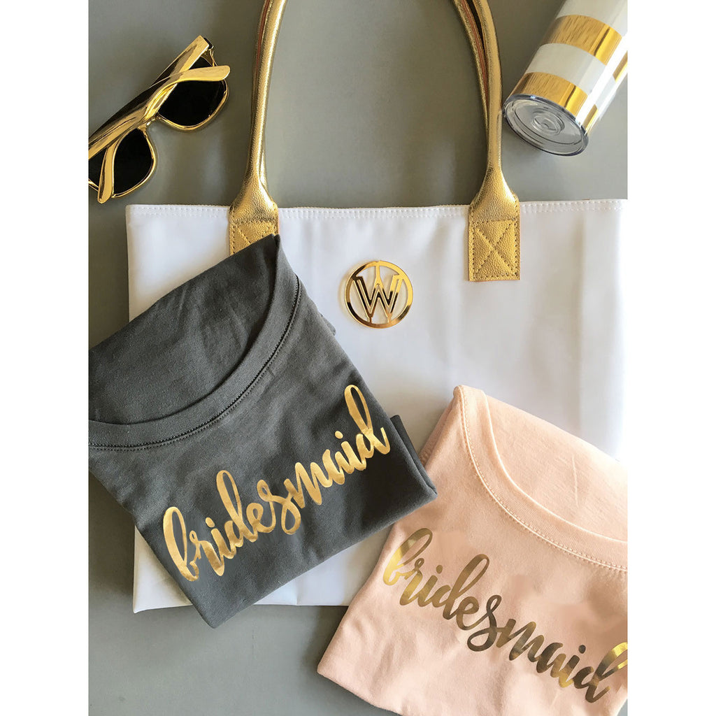 Bridal Party T-shirt Gold Lettering Scoop Neck