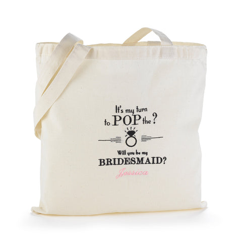 Pop the Question Personalized Bridal Shower Tote Bag