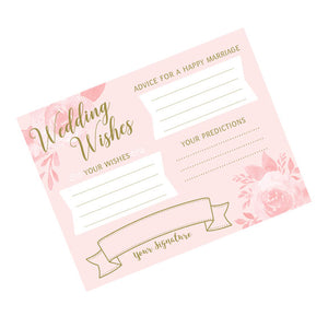 pink and gold bridal shower best wishes stationery party game card