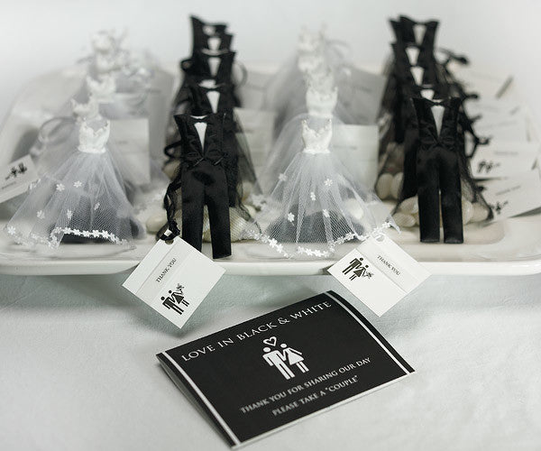A large display of the Groom Wedding Favor Candy Bags (bride candy bag sold separately)